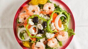 Grecian Salad with Shrimp